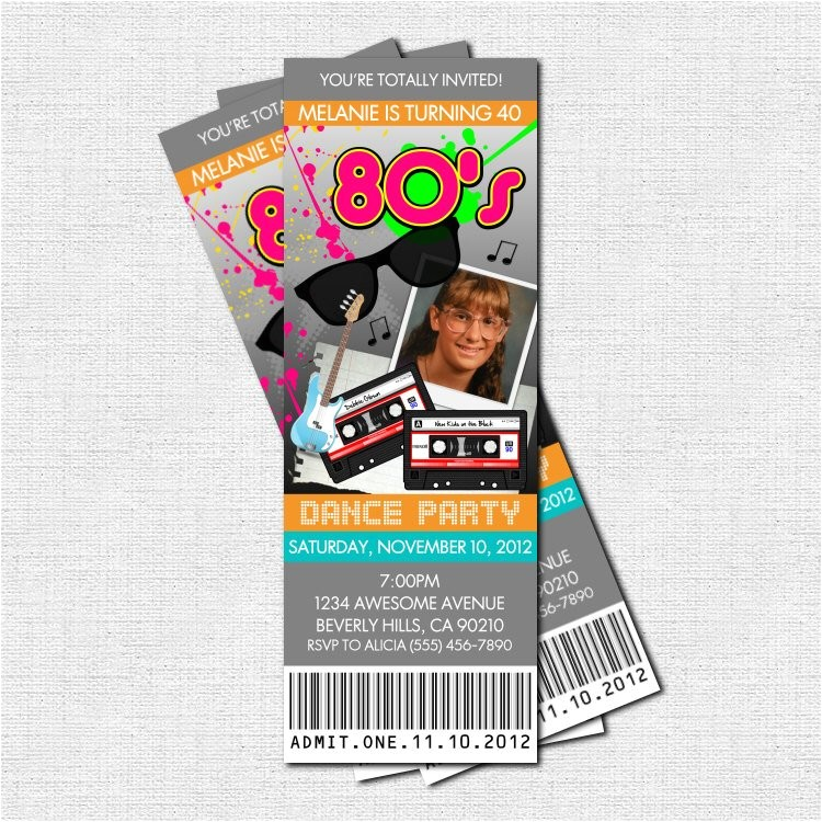 80s party ticket invitations print your