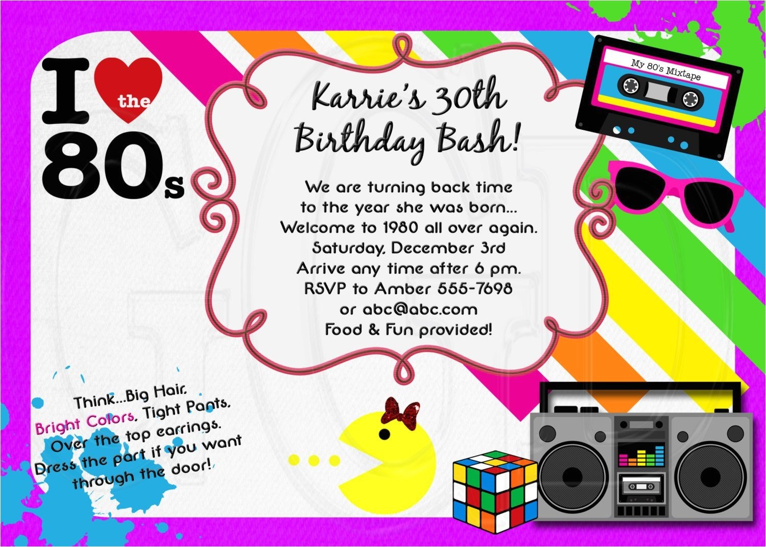 1980s invitation 80s theme party