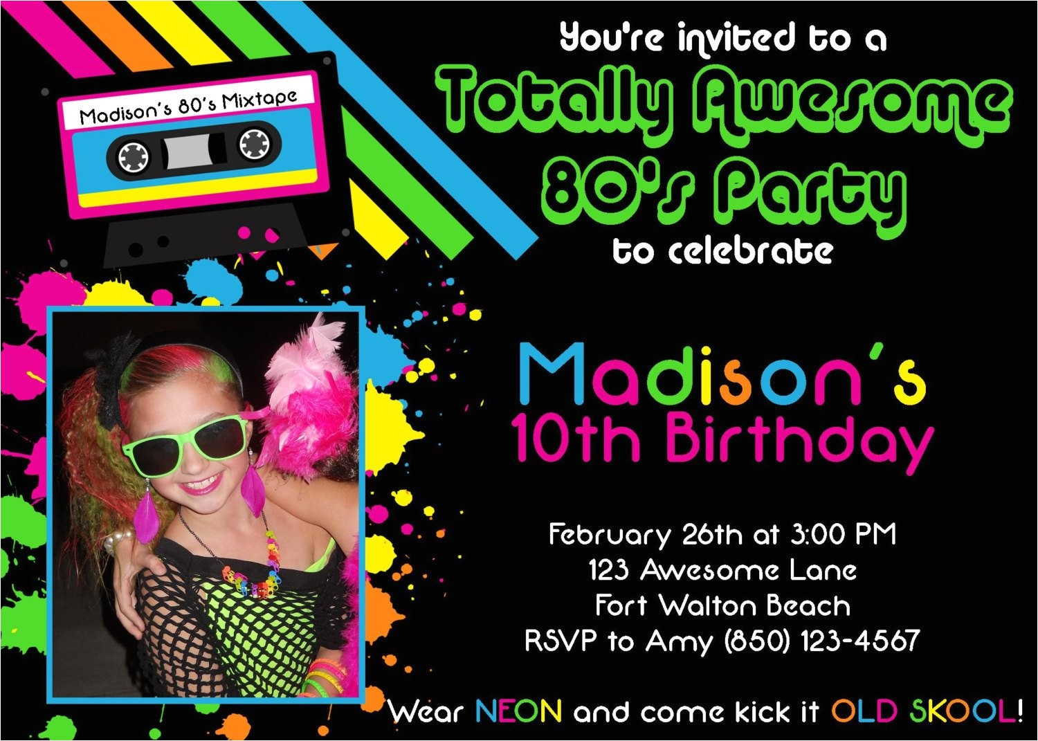 awesome 80s 5x7 party invitation girl