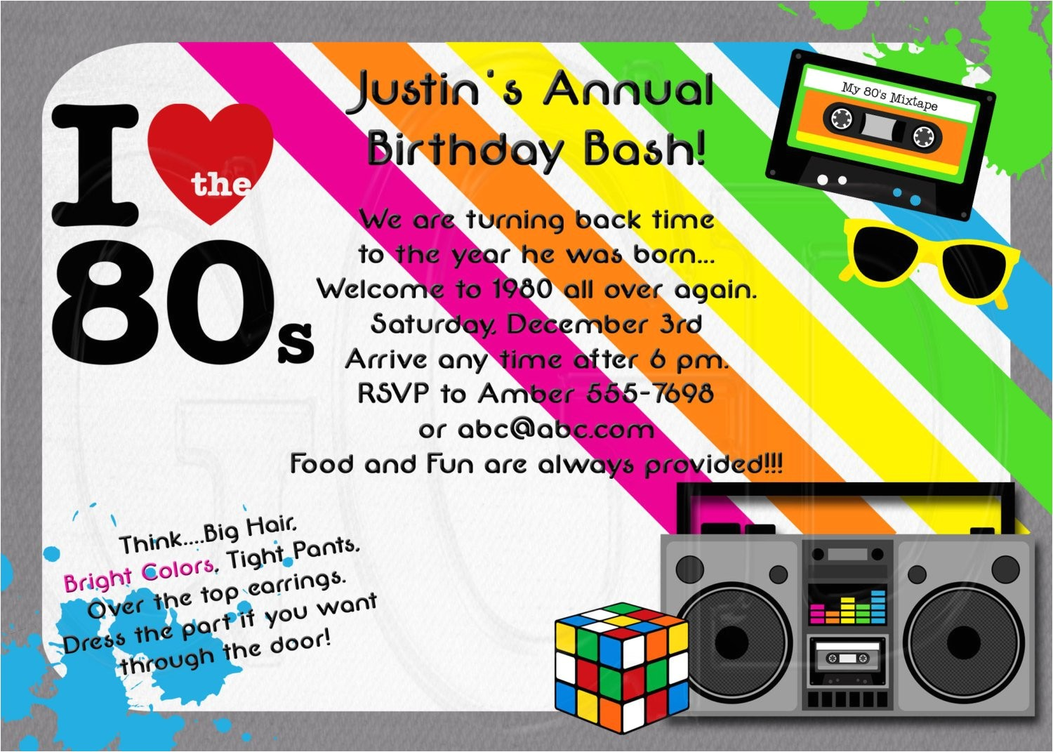 1980s invitation 80s theme party digital