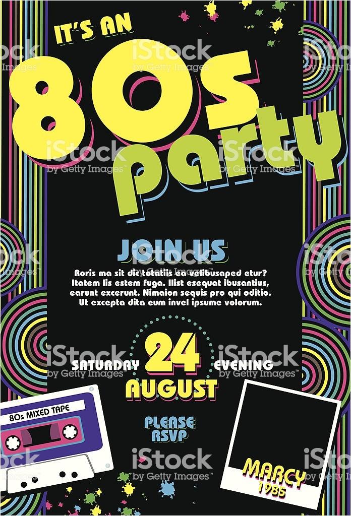 80s theme Party Invitation Templates Free Eighties Party themed 80s Invitation Design Template with