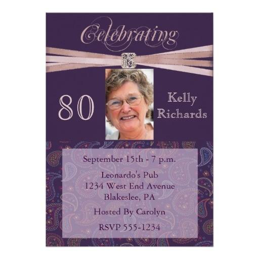 elegant 80th birthday party photo invitations 161564140408027635