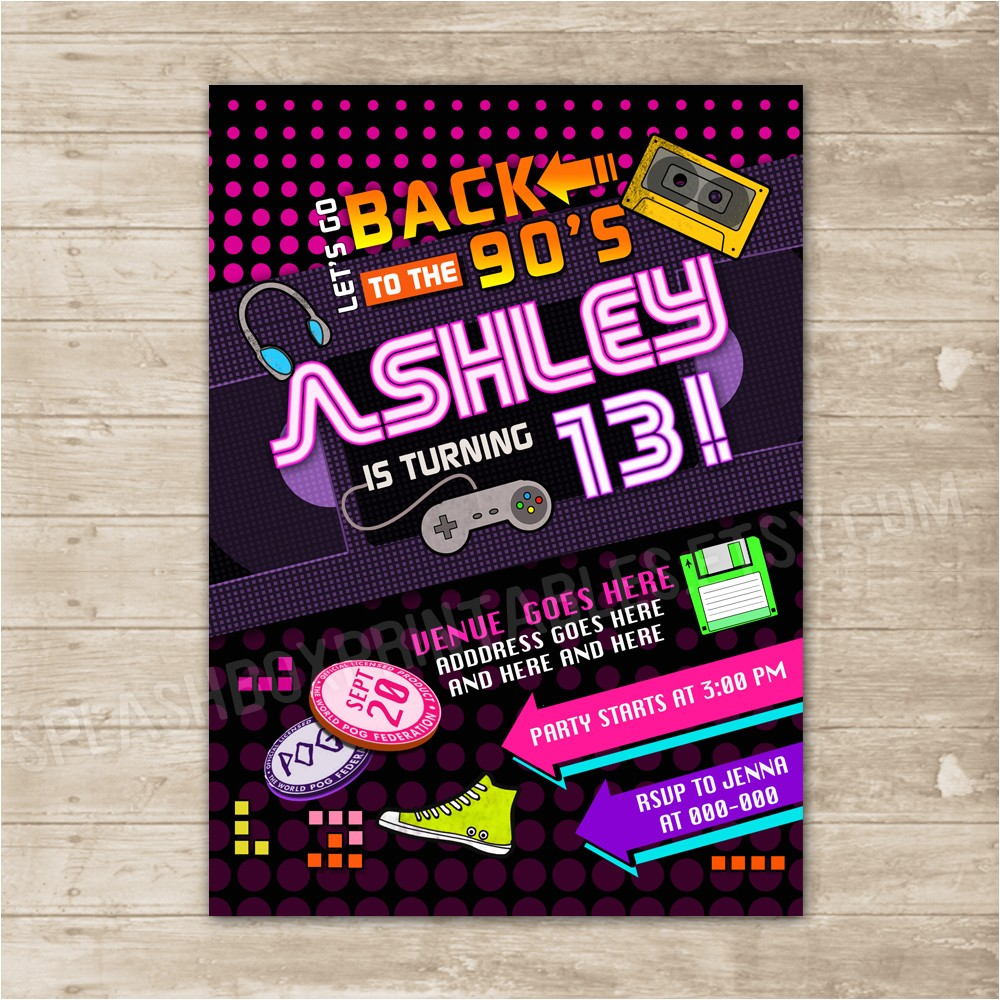 15187299 back to the 90s invitation nineties party invite flashback throwback birthd