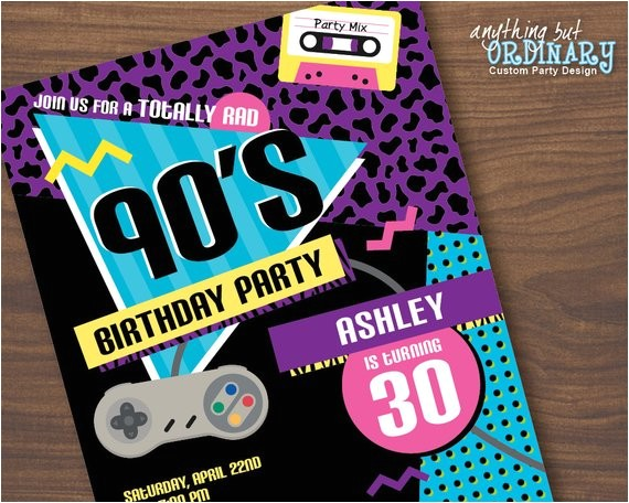 90s birthday party invitation 1990s