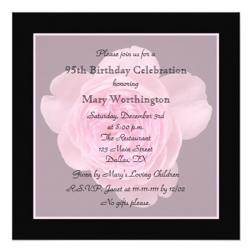 95th birthday party invitation rose for 95th 161525808791667981