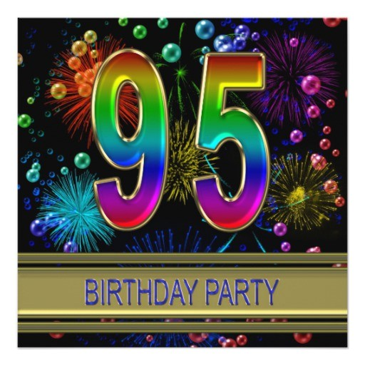 95th birthday party invitation with bubbles 161013179058573880