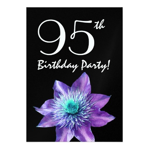 95th birthday party template purple passion flower invitation 161524605333501466