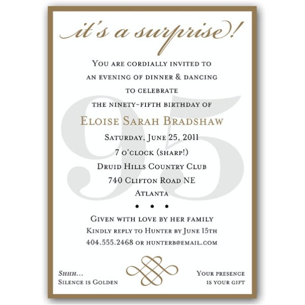 classic 95th birthday gold surprise invitations p 607 57 95sg