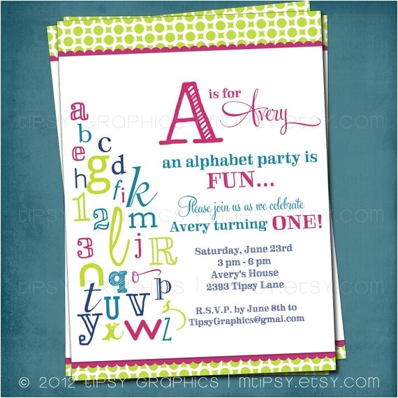 abc colorful alphabet birthday party invitation