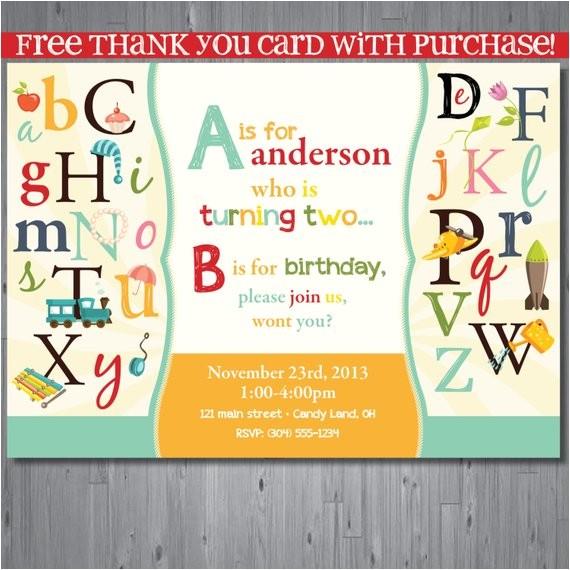 abc birthday invitation first birthday