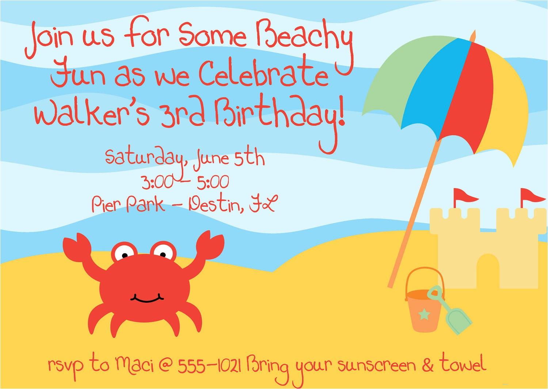 beach theme birthday invitations