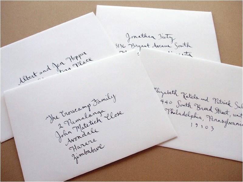wordings hand addressing wedding invitation envelopes togeth