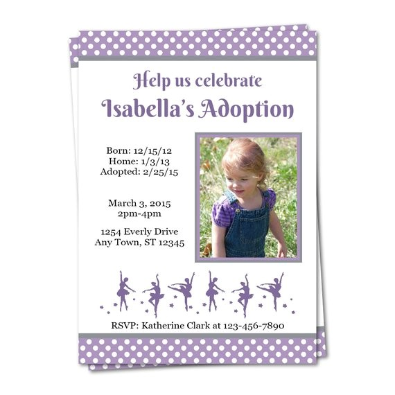 ballerina adoption party invitation