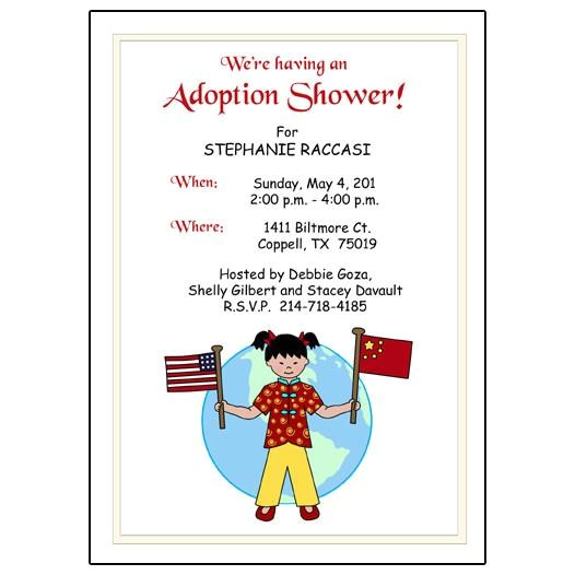 older kid flags adoption party shower invitation