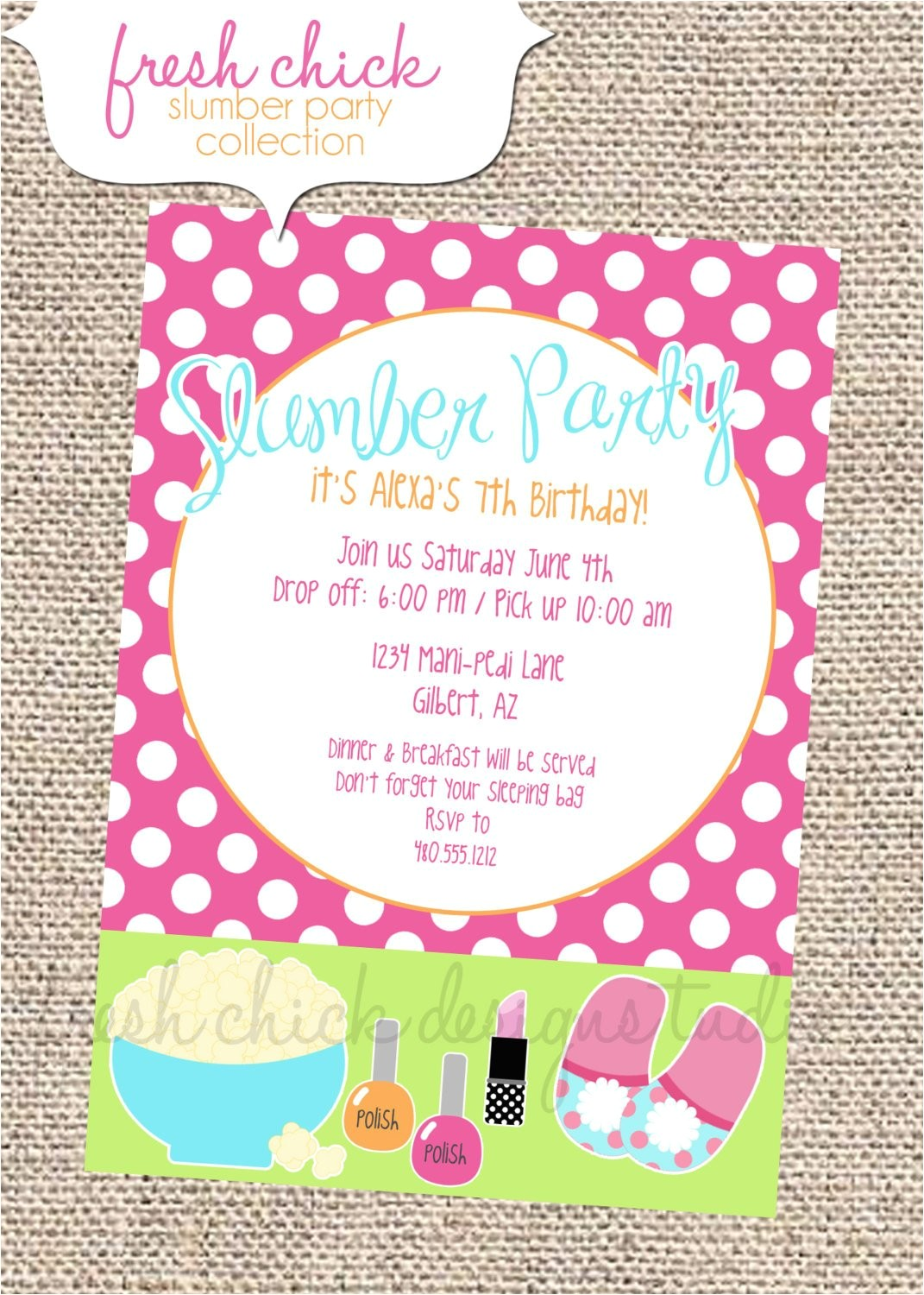 printable party invitation slumber party