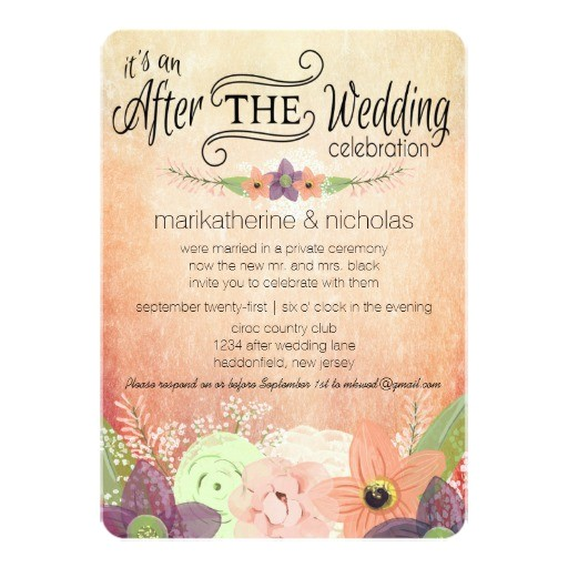 watercolor flowers after wedding party invitations 256886697157698003