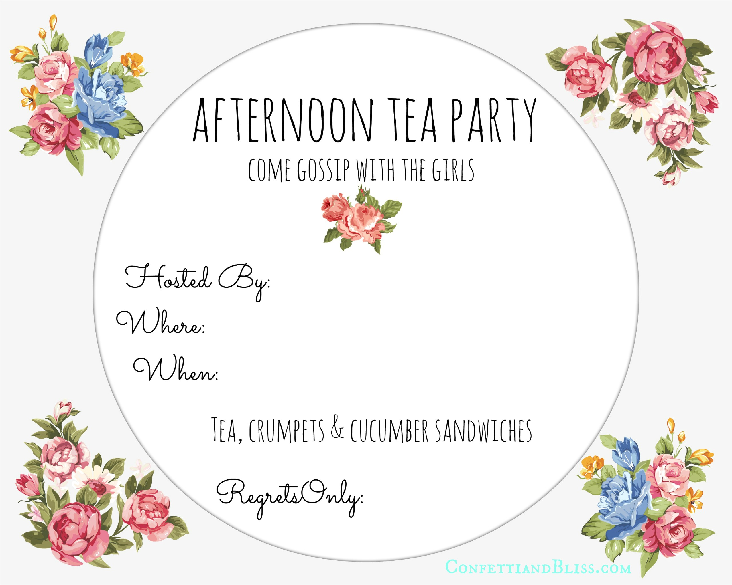 free printable high tea invitation