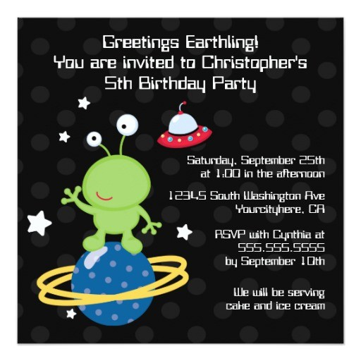 outerspace alien boys birthday party invitation 161925564474508076