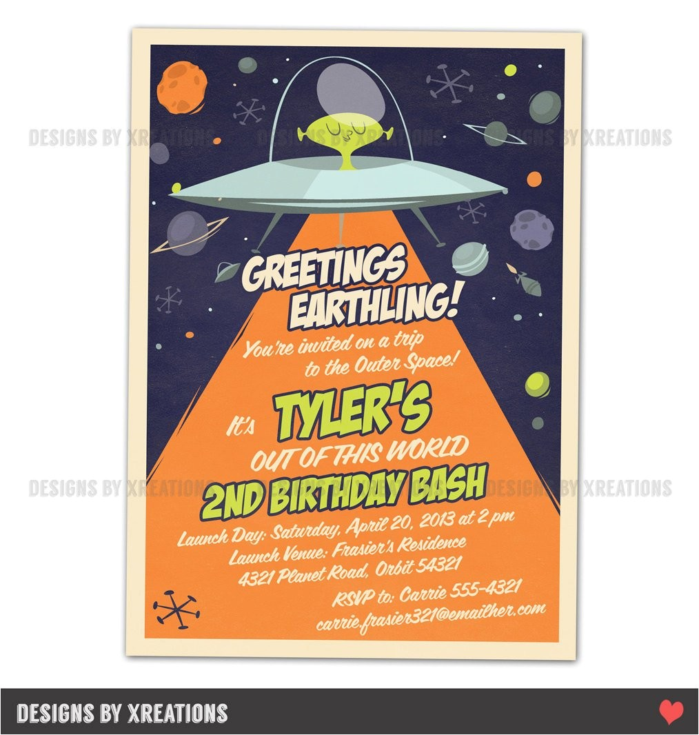 space alien spaceship invitation