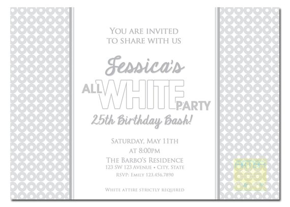 All White Party Invitation Wording All White Party Invitation White Party Invitation Summer