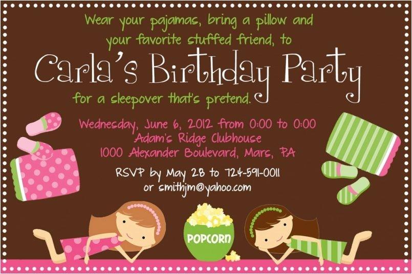 sleepover birthday invitations