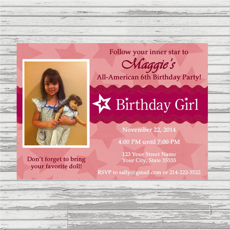 American Girl Doll Birthday Party Invitations American Girl Birthday Party Invitation Doll by