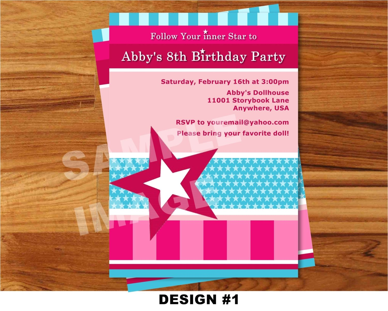 american girl invitation doll invitation