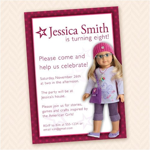 american girl dolls birthday party invitations