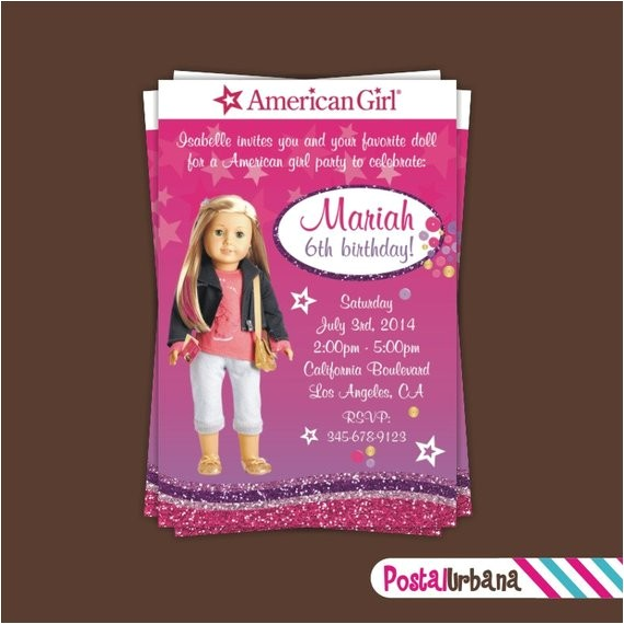girl doll inspired invitation girl doll