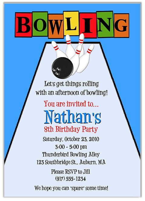 bowling birthday party invitations boy