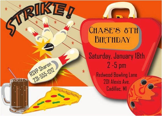 bowling invitation bowling birthday invitation kids
