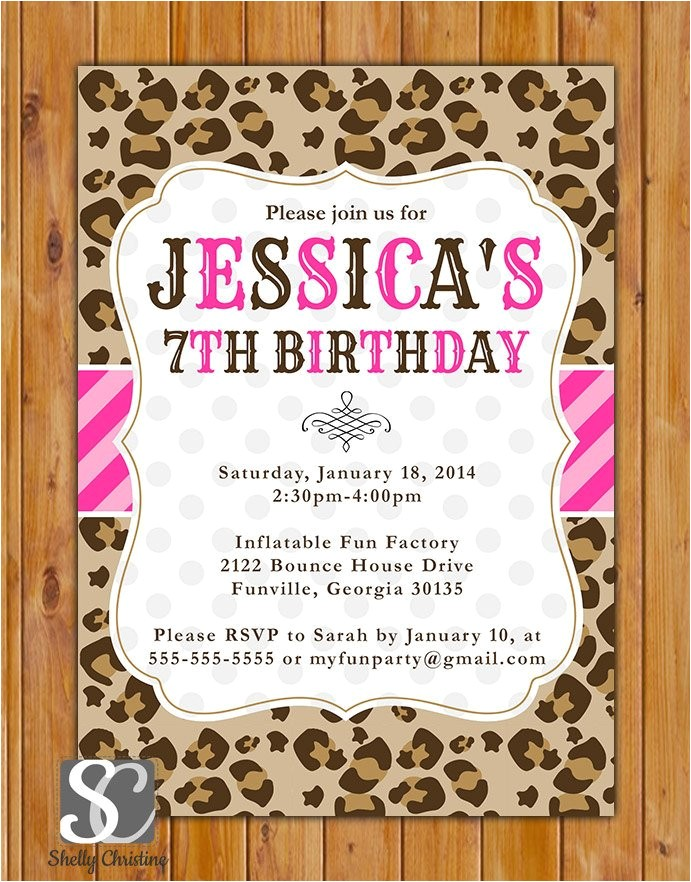 leopard print birthday party invite pink