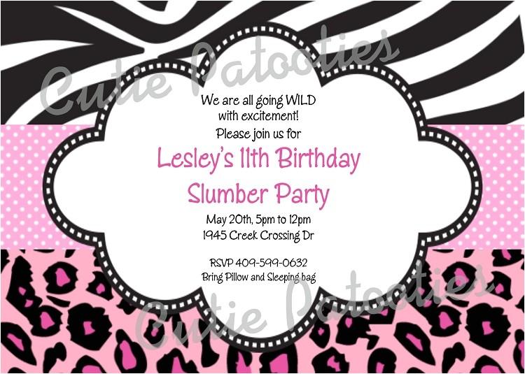 zebra print birthday party invitations p 103
