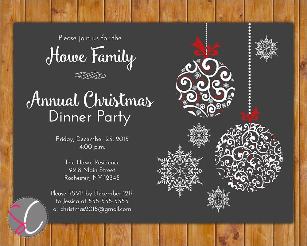 annual christmas dinner party invite