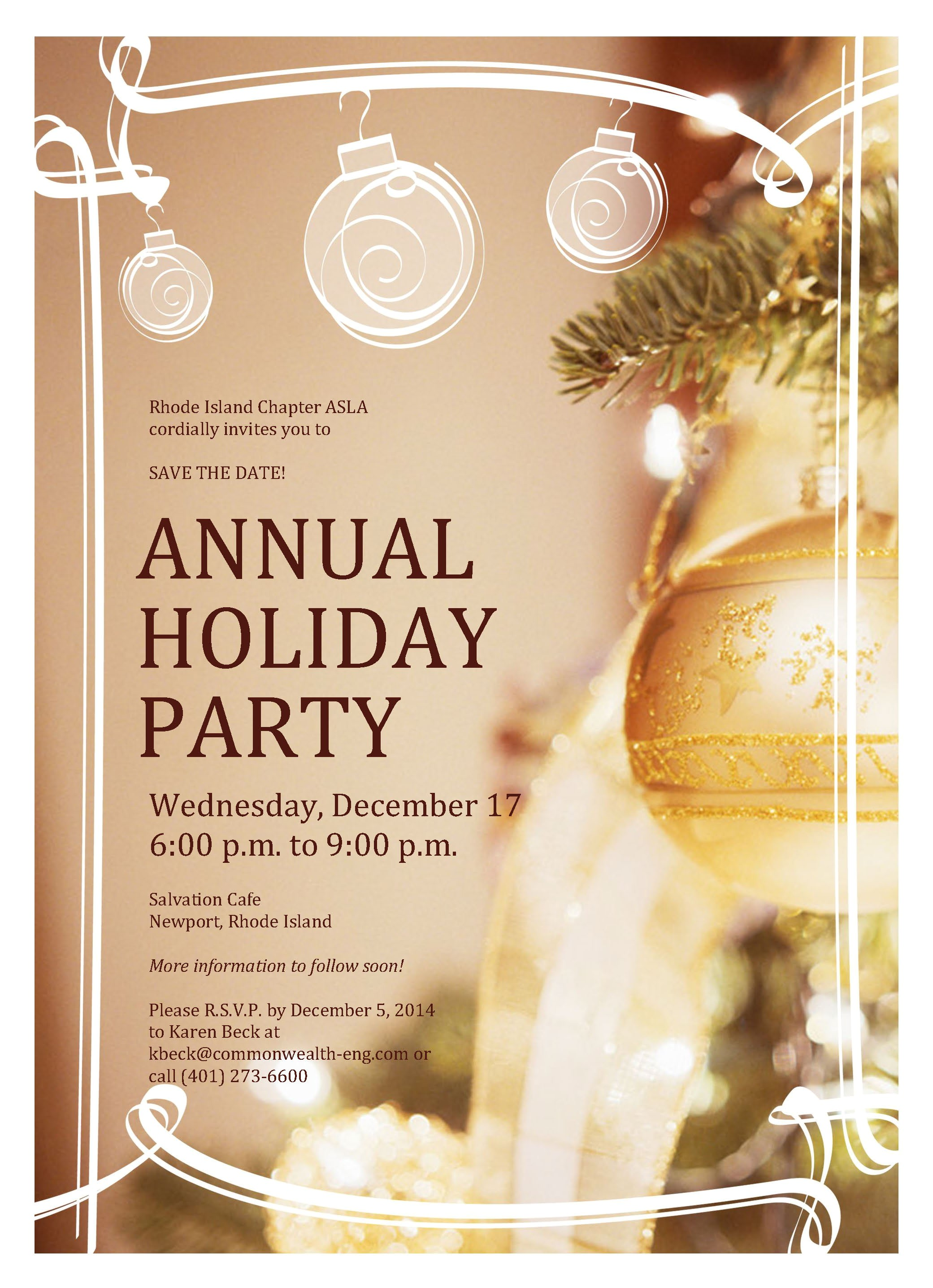 wednesday december 17 2014 600 p m to 900 p m riasla annual holiday party