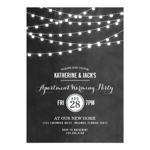 summer string lights apartment warming party 5x7 paper invitation card 161309488352061927