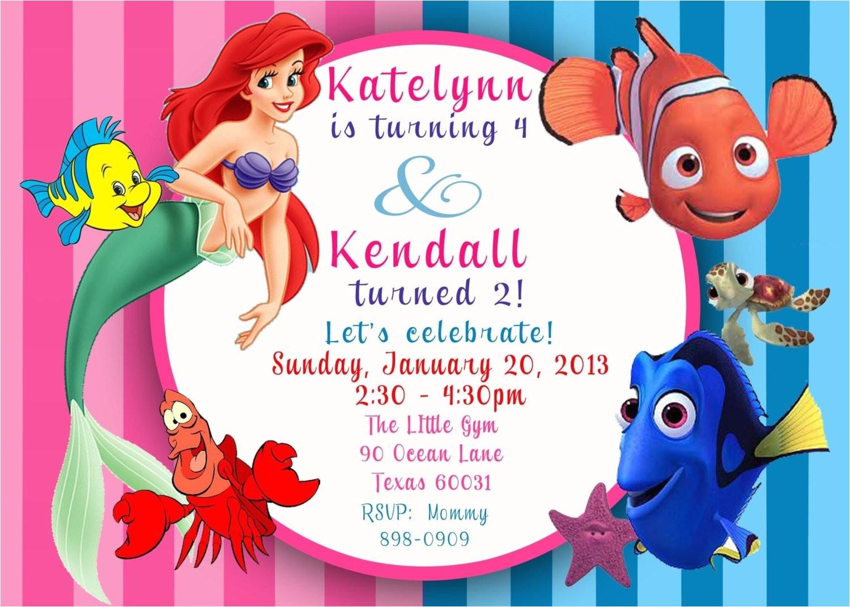 custom photo invitation ariel the little