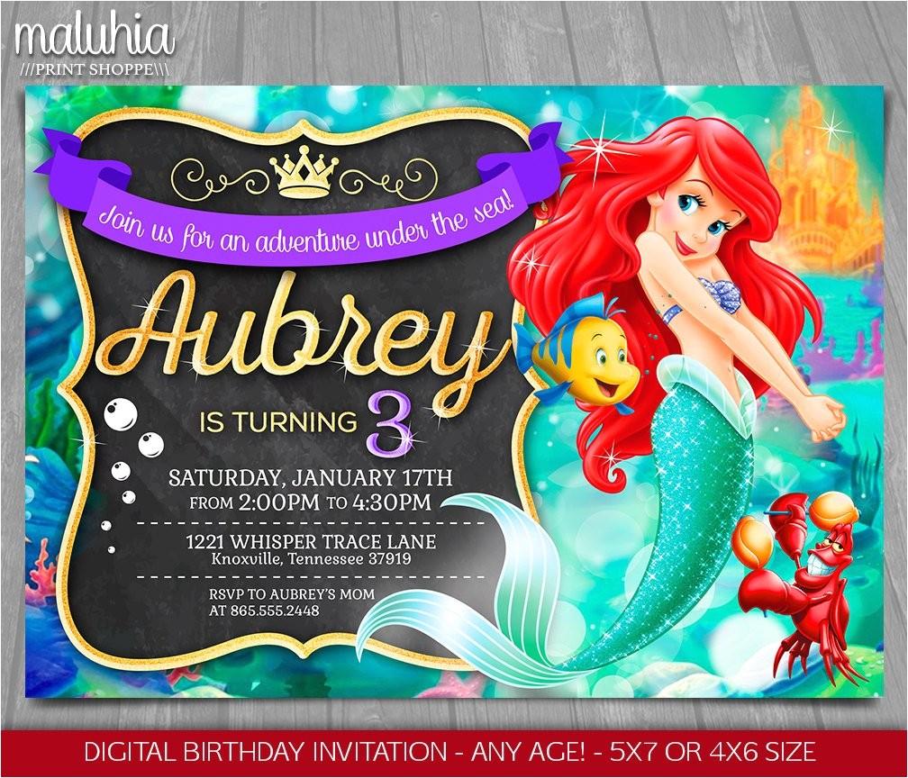 little mermaid invitation disney
