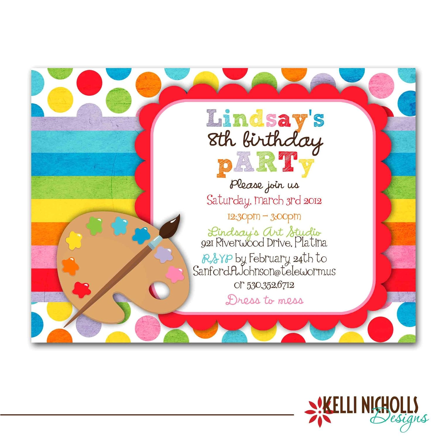 art birthday party invitation bright
