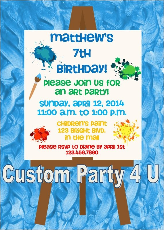 art themed birthday invitations