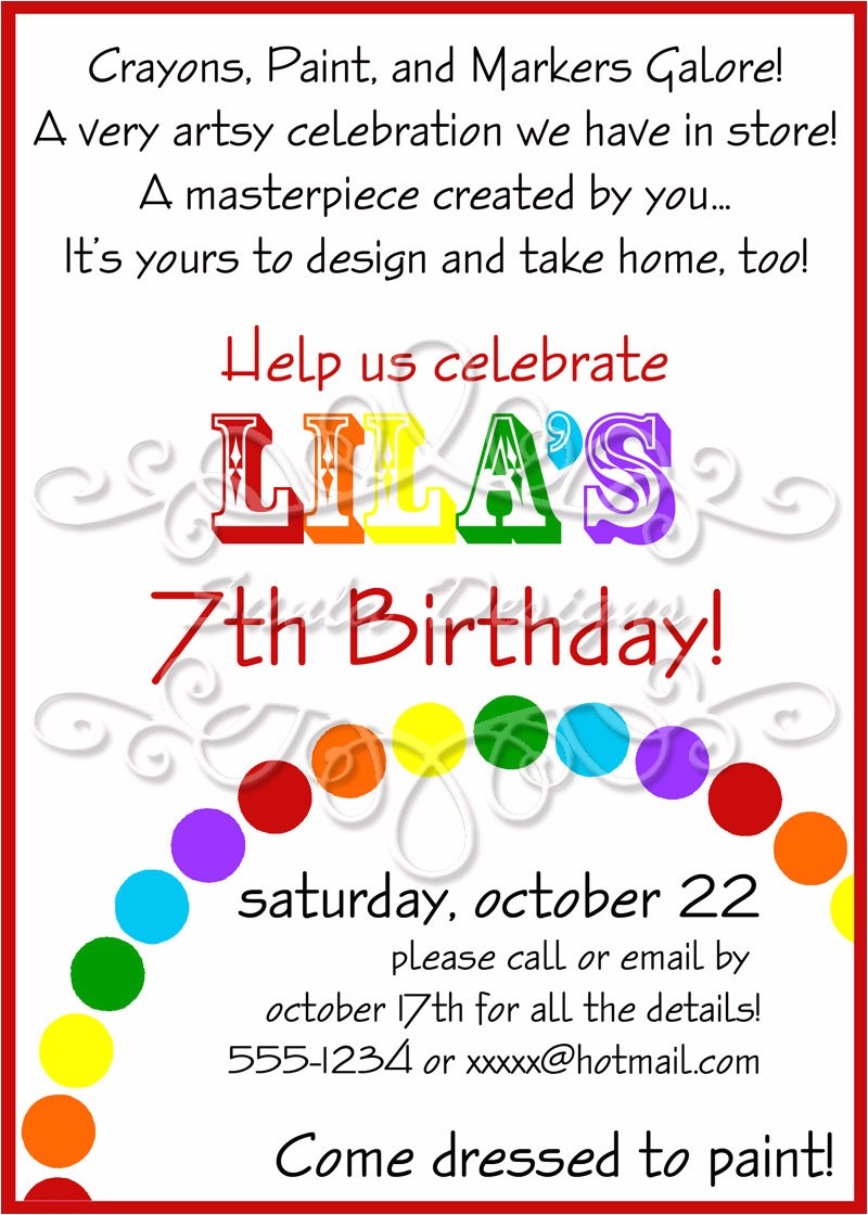 art themed birthday party invitations