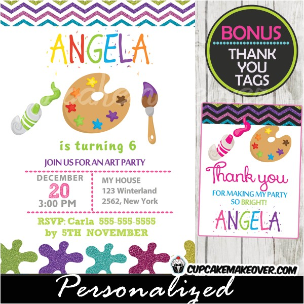 coloring crayons art party invitation personalized d1