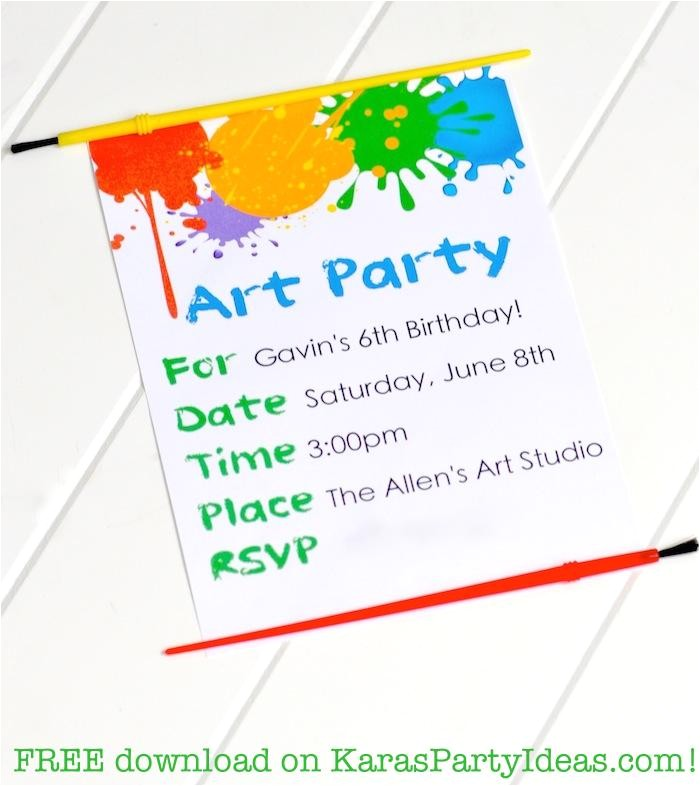 very best art party invitations