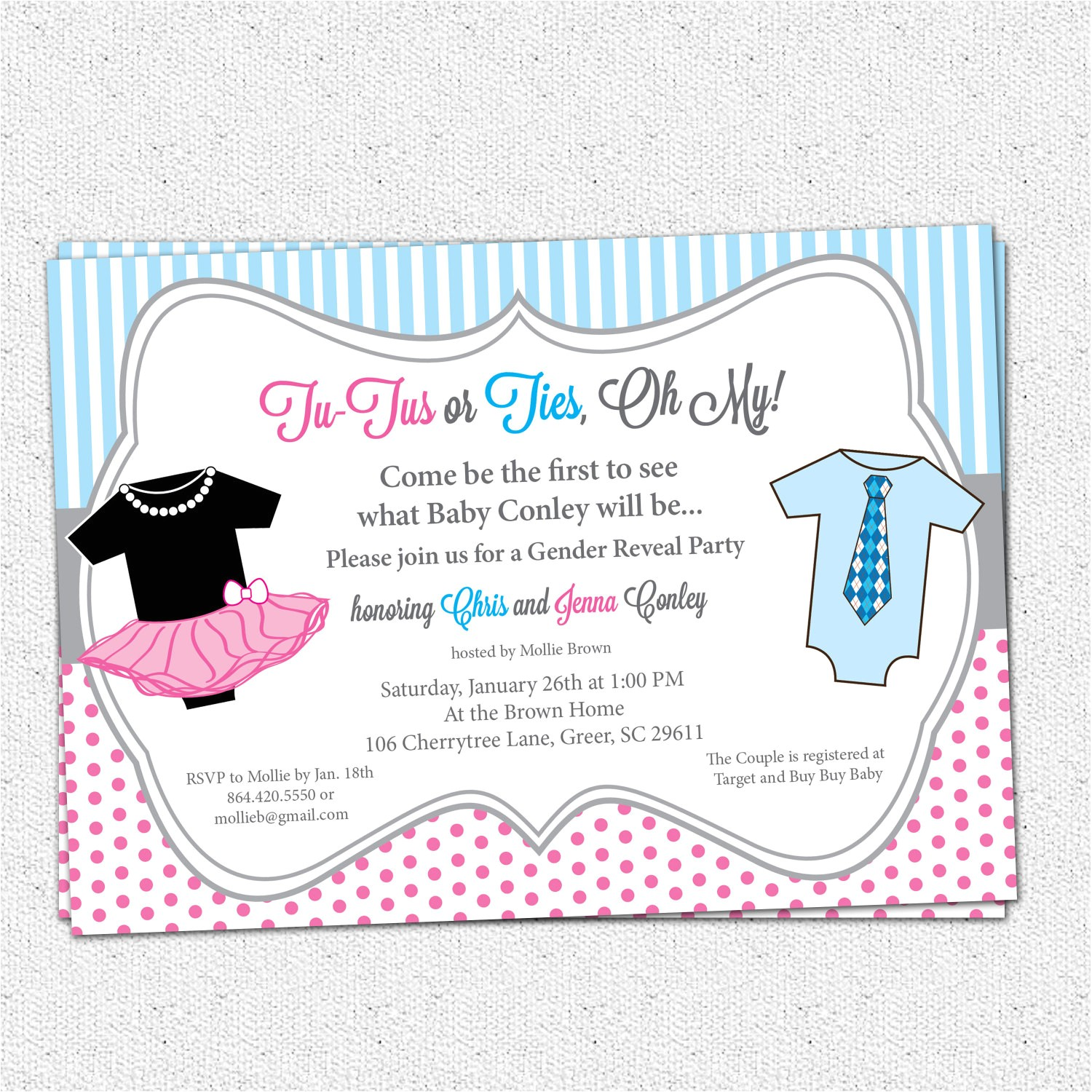gender reveal party invitations template