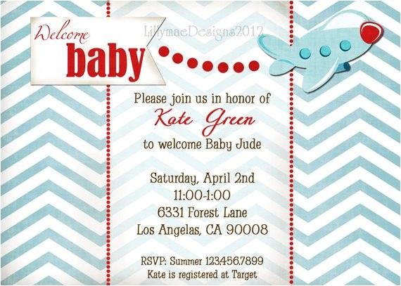 airplane baby shower invitation welcome
