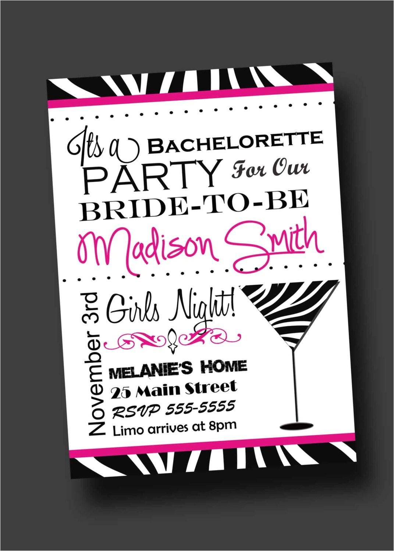 bachelorette party invitation zebra