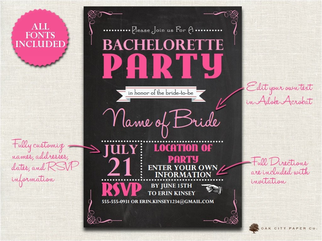 bachelorette invitation chalkboard