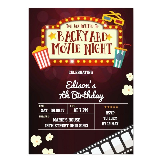 backyard movie night birthday party invitation 256461962758000976