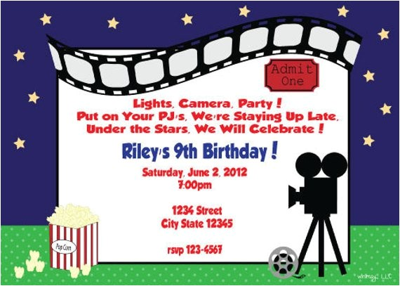 outdoor movie party printable invitation
