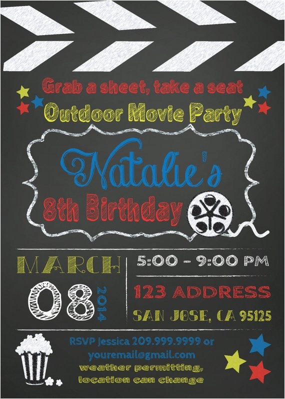 movie party outdoor movie invitation